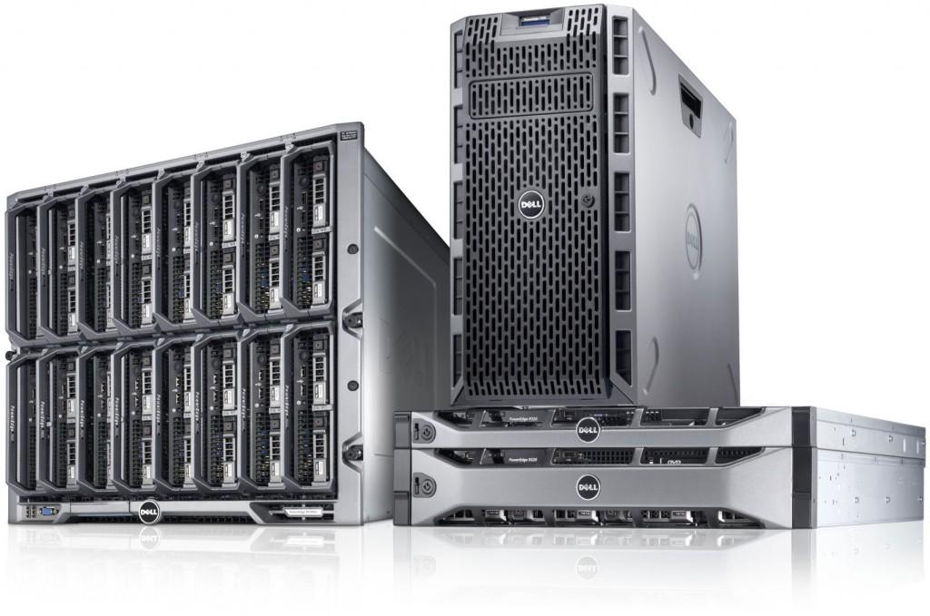 PowerEdge 12G server family, featuring a PowerEdge T320 tower server, PowerEdge R320 and R520 rack servers, and M320 blade servers in a PowerEdge M1000e enclosure.